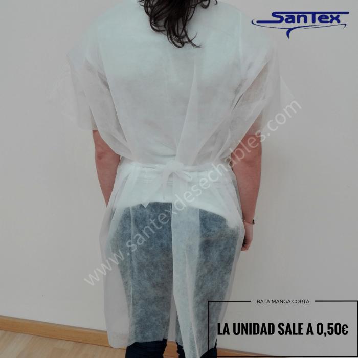 Bata Santex desechable blanca apertura delantera 20gr. Caja 200 uds